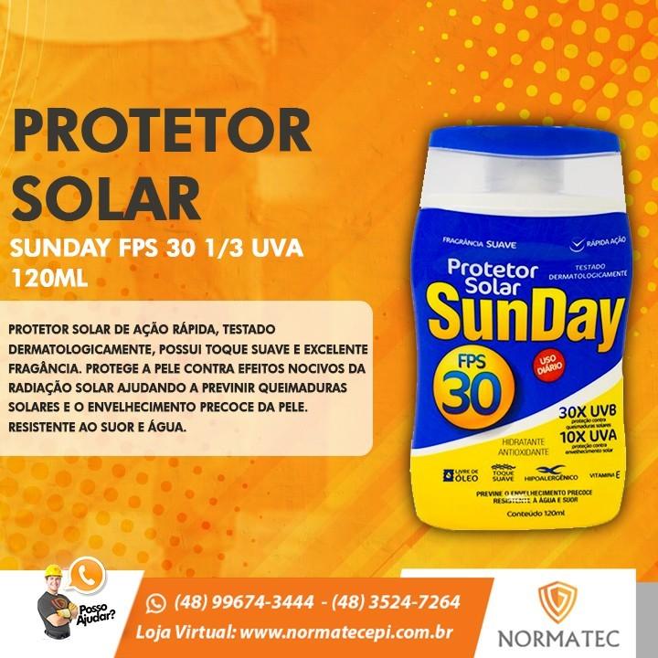 PROTETOR SOLAR SUNDAY FPS 30 1/3 UVA 120ML